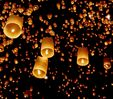 Floating sky lanterns are hot air lanterns and made of special fire resistant paper.  They are $1.00 at http://www.justartifacts.net/flskyla.html#