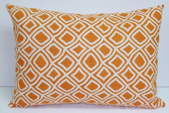 ORANGE PILLOW..12x16 or 12x18 inch.Decorator Lumbar Pillow Cover.Printed Fabric Front and Back. Rectangular Pillow.Orange and Cream