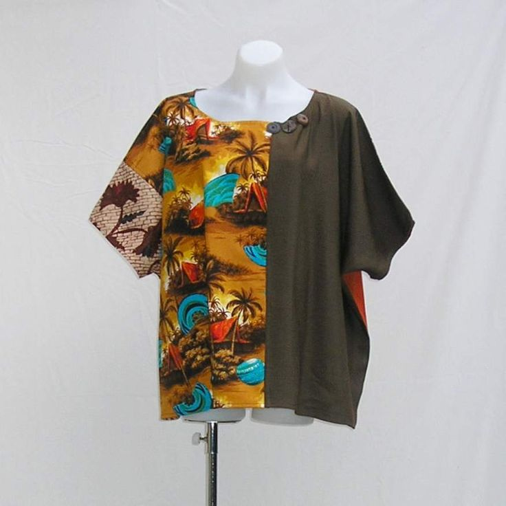 Plus size Tunic, top, blouse, size 3x 4x 5x, Brown tan earth, patchwork, nothing matches, upcycled, eco friendly, OOAK, one of a kind by Rethreading on Etsy