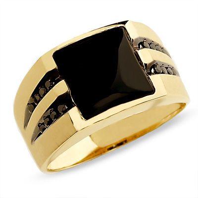 Men's Onyx Ring in 10K Gold with Enhanced Black Diamonds