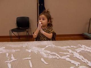 Miss Courtney Meets Bobo: Messy Learning Lab: Shaving Cream Table