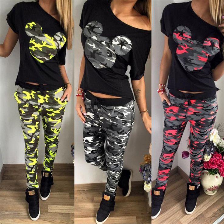 2016 Summer Autumn Women Suit Camouflage tracksuits Sets cartoon pattern Print 2 pieces (t-shirt + pants) Women set tracksuit