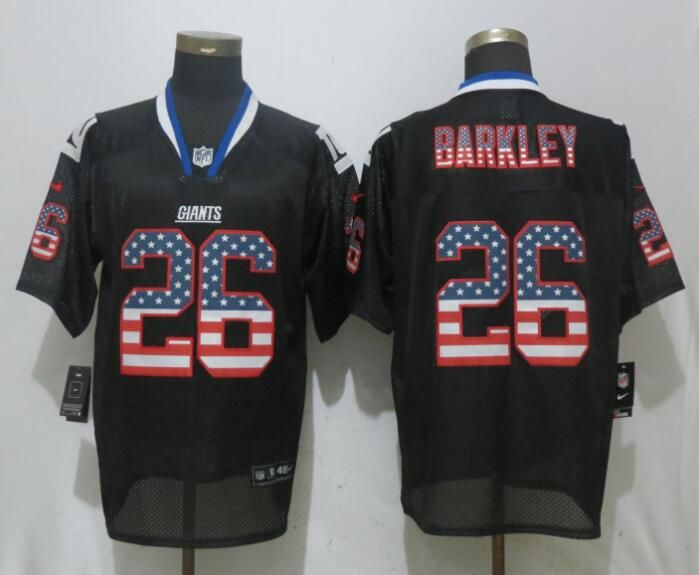 big sale 46734 26aa9 Nike Giants 26 Saquon Barkley Black USA Flag Elite Jersey ...