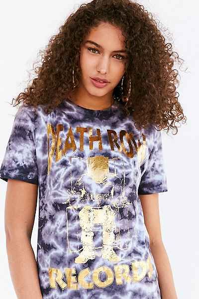 T-shirt métallique doré teint par nœuds Death Row Records 49$