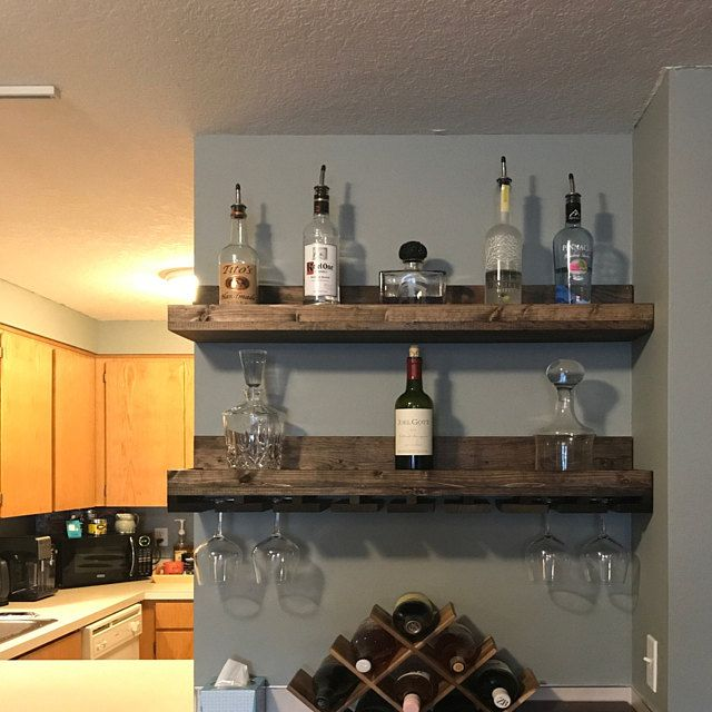 Wood Wine Rack Wall Mounted Shelf Hanging Stemware Glass Etsy In 2020 Wood Wine Racks Home Bar Decor Wine Rack Wall