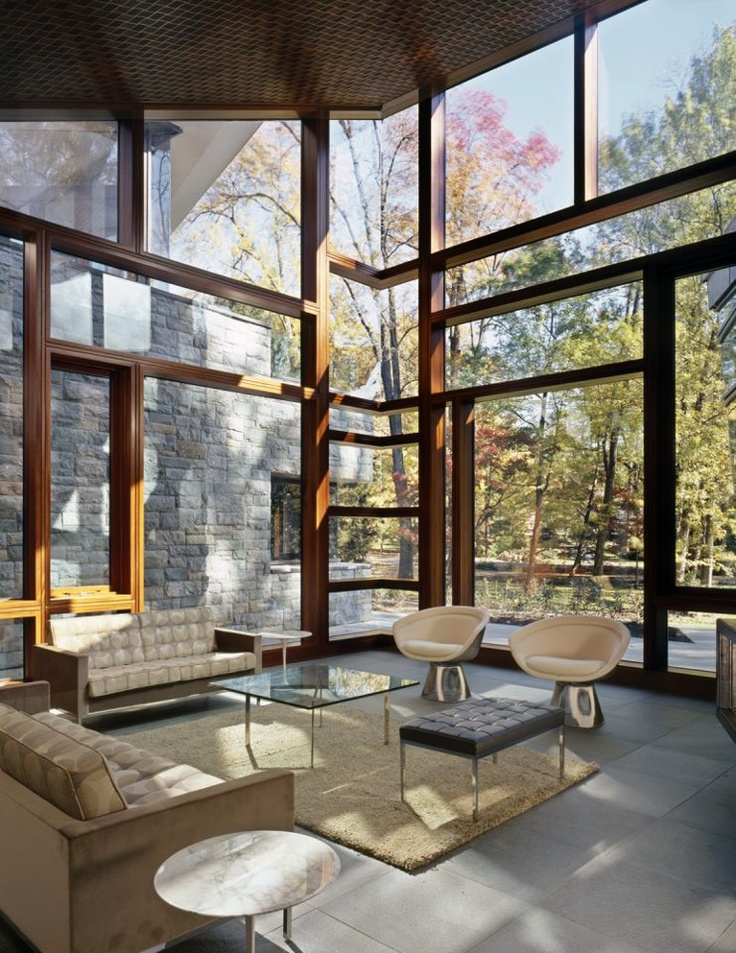 The Glenbrook Residence with Florence Knoll and Warren Platner seating. Designed by architect David Jameson.