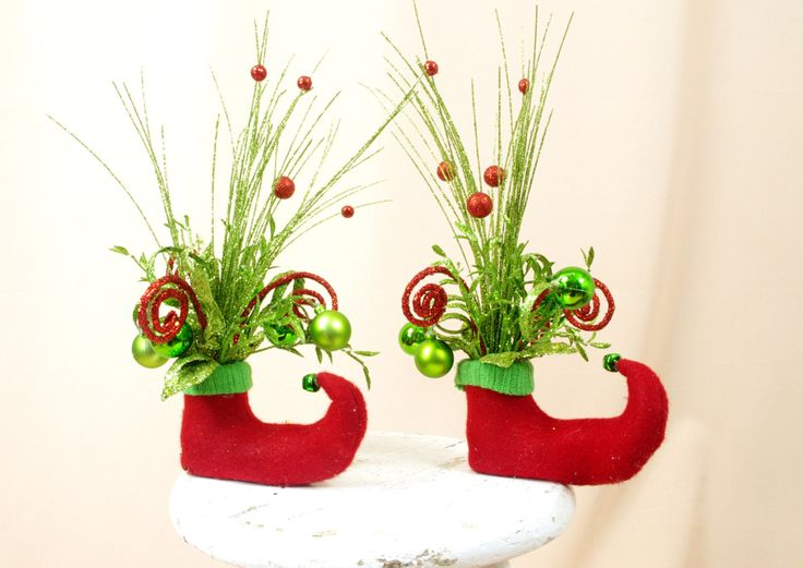 Two Elf Arrangements * Red and Green Elf Boots * Elf Centerpiece * Christmas Decoration * Elf Decor * Holiday Elf * Holiday Decor * Green by englishrosedesignsoh on Etsy