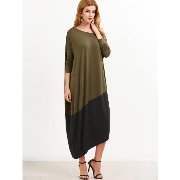 Asymmetrisches Cocoon Kleid 2017 Kontrast Dolman Ärmel