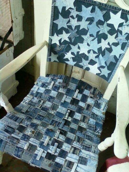 Woven denim chair