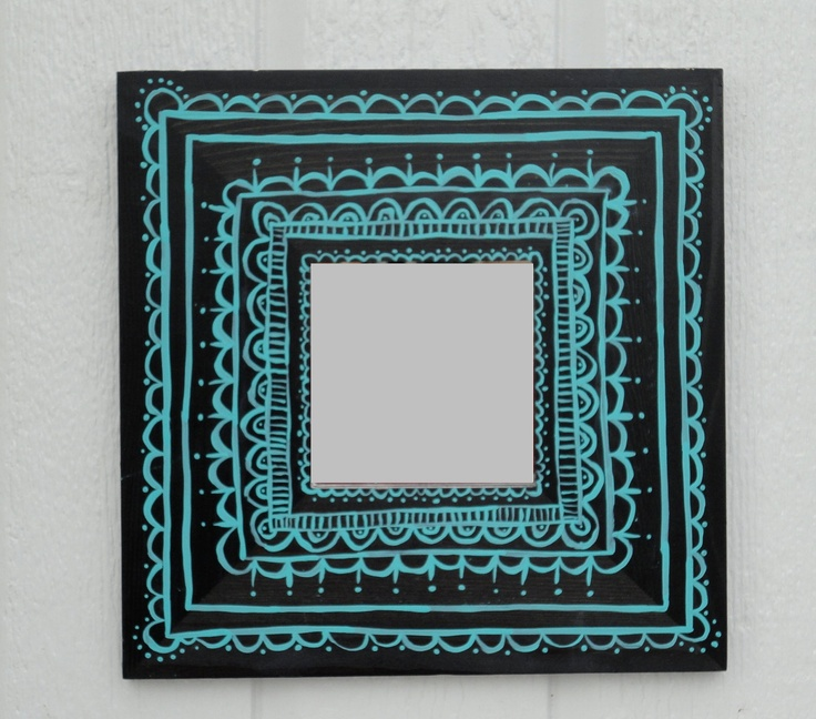 Black and Turquoise Hand Painted Mirror. $14.95, via Etsy.