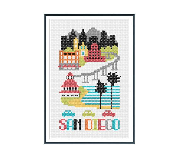 San Diego Cross Stitch Pattern Instant Download от tinymodernist