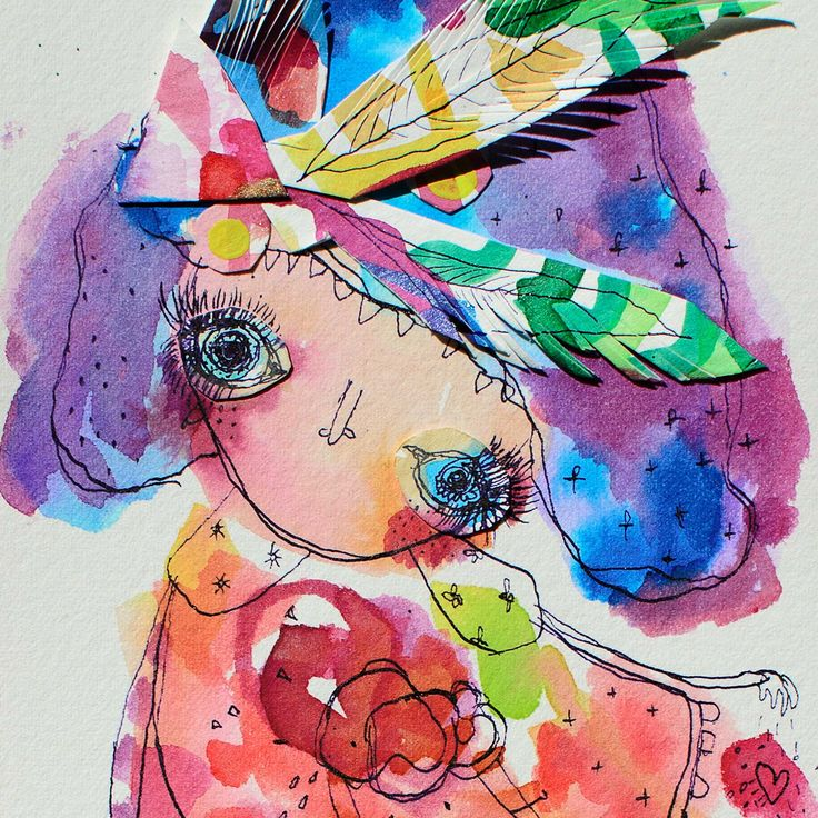 Sadie - AVAILABLE inky watercolour collage on paper 10.5 x 15.5cm