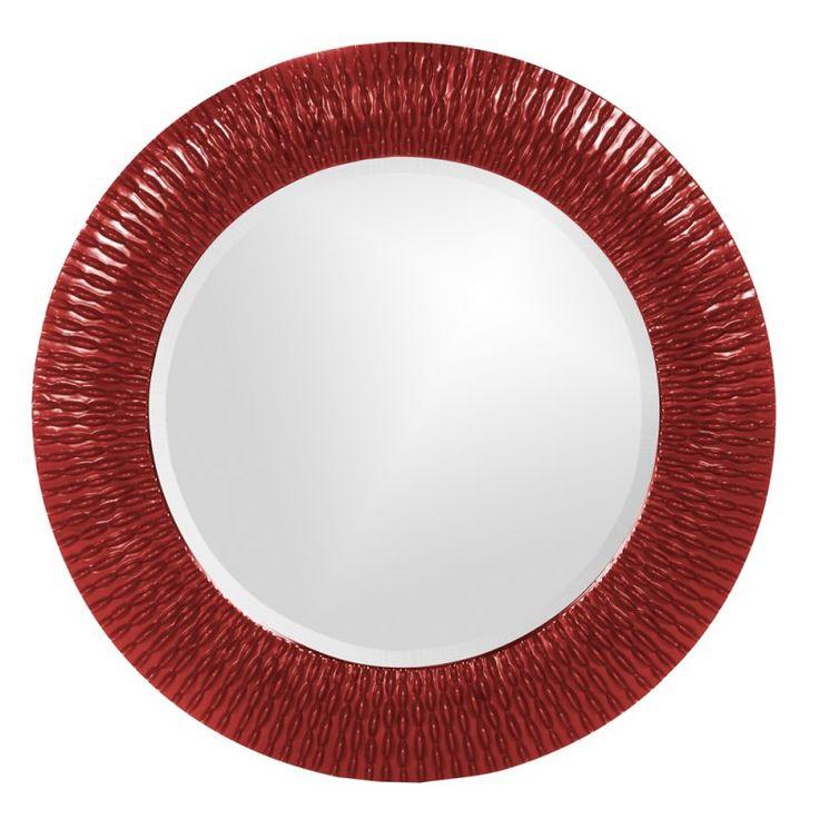 "Howard Elliott 21143R Bergman Small Round 32"" x 32"" Bergman Red Small Round Mirr Red Home Decor Mirrors Lighting"