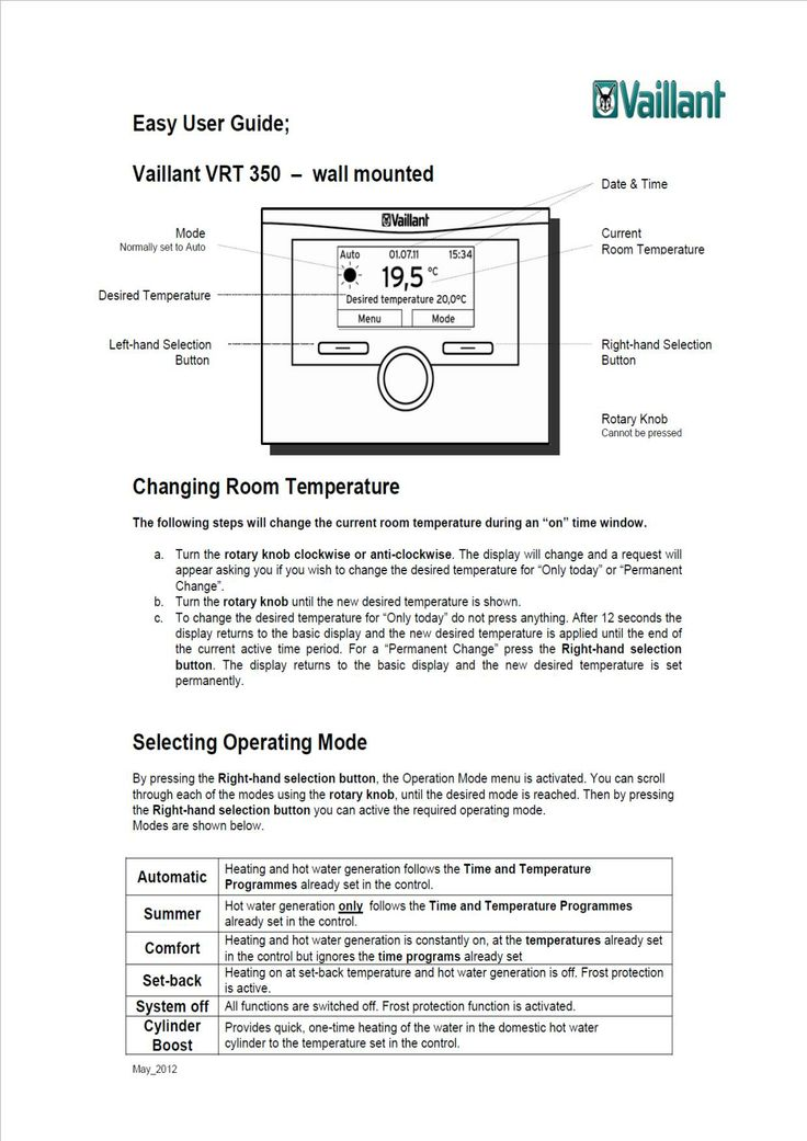 easy user guide boiler controls
