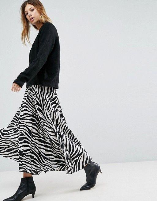 ecabac308 ASOS Satin Pleated Midi Skirt in Zebra Print | ASOS in 2019 ...