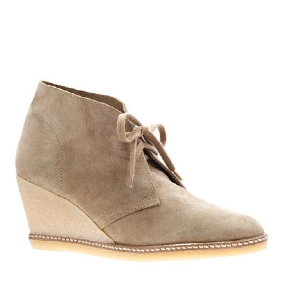 J Crew Mcallister wedge boots size 7, never worn. Suede tan Jcrew Mcallister wedge boots. Never worn. J. Crew Shoes Heeled Boots