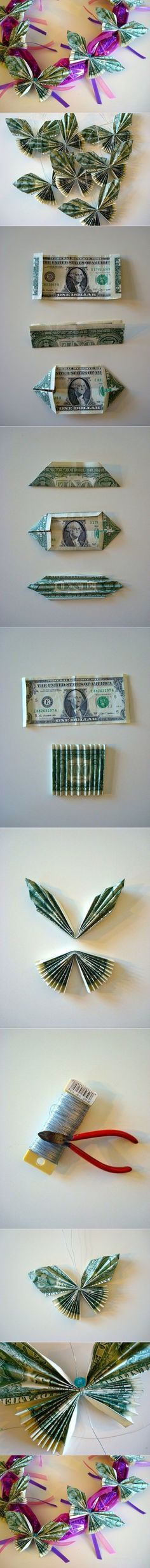 I came across a post of making dollar bill butterflies, the author uses them to make candy leis for kids graduations, here is the link. We don't necessarily to use dollars, we can use rectangle to make beautiful butterflies. Materials •Rectangle paper •Thread/Wire