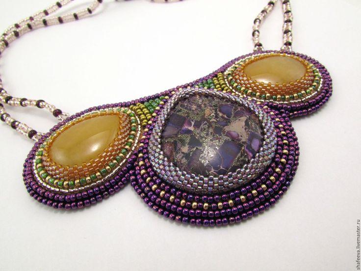 Купить Колье - Южная сказка - разноцветный, колье, Вышивка бисером, фиолетовое колье, бисерное колье