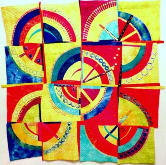 Spheres IX by Jane Frenke quilt art at the Mid-Atlantic Quilt Festival 2017