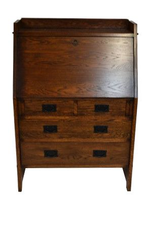 This is an Arts & Crafts Mission Oak Secretary made with solid white Oak. This is a high quality piece, very solid, no veneer, made with alot of expertise and attention to details as the orignal 100 y