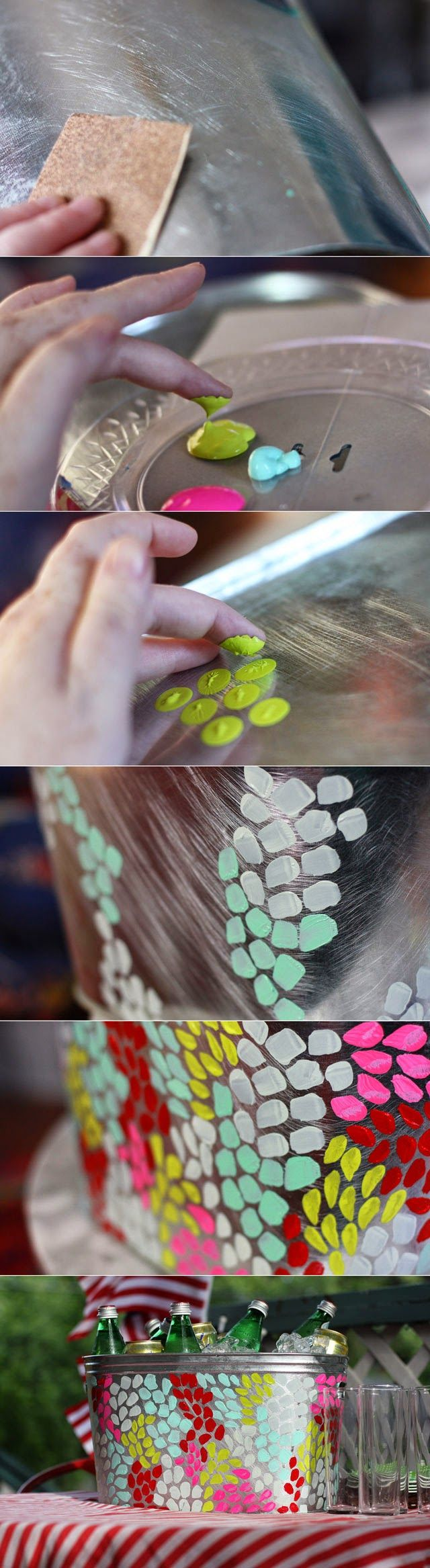 : Use fingerprints and paint to decorate metal tub.