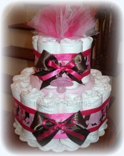 pink camo baby shower ideas | Pink Camouflage Diaper Cake Hidden Gifts Baby Shower Centerpiece Camo