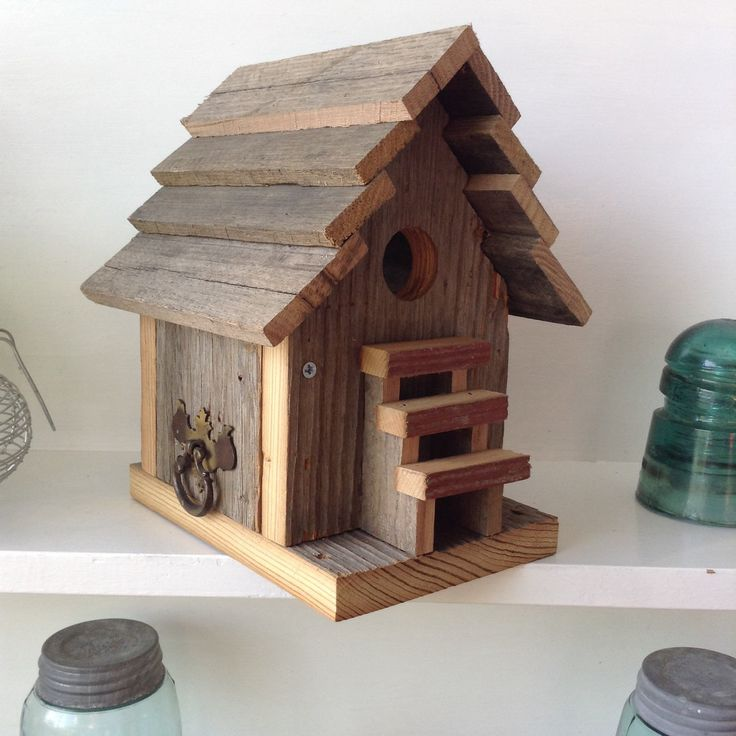 Birdhouse Reclaimed Barnwood Primitive Rustic Birdhouse Wren House by SoilandSawdust on Etsy