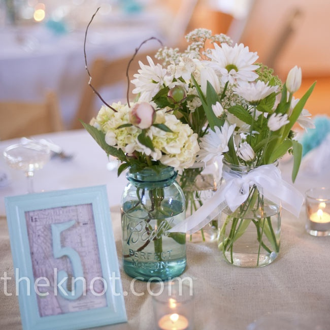 Mason jar centerpieces vintage framed table numbers for Mason jar wedding centerpiece ideas