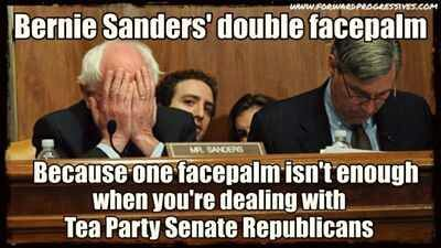 Bernie Sanders ~~ A double facepalm is completely understandable.