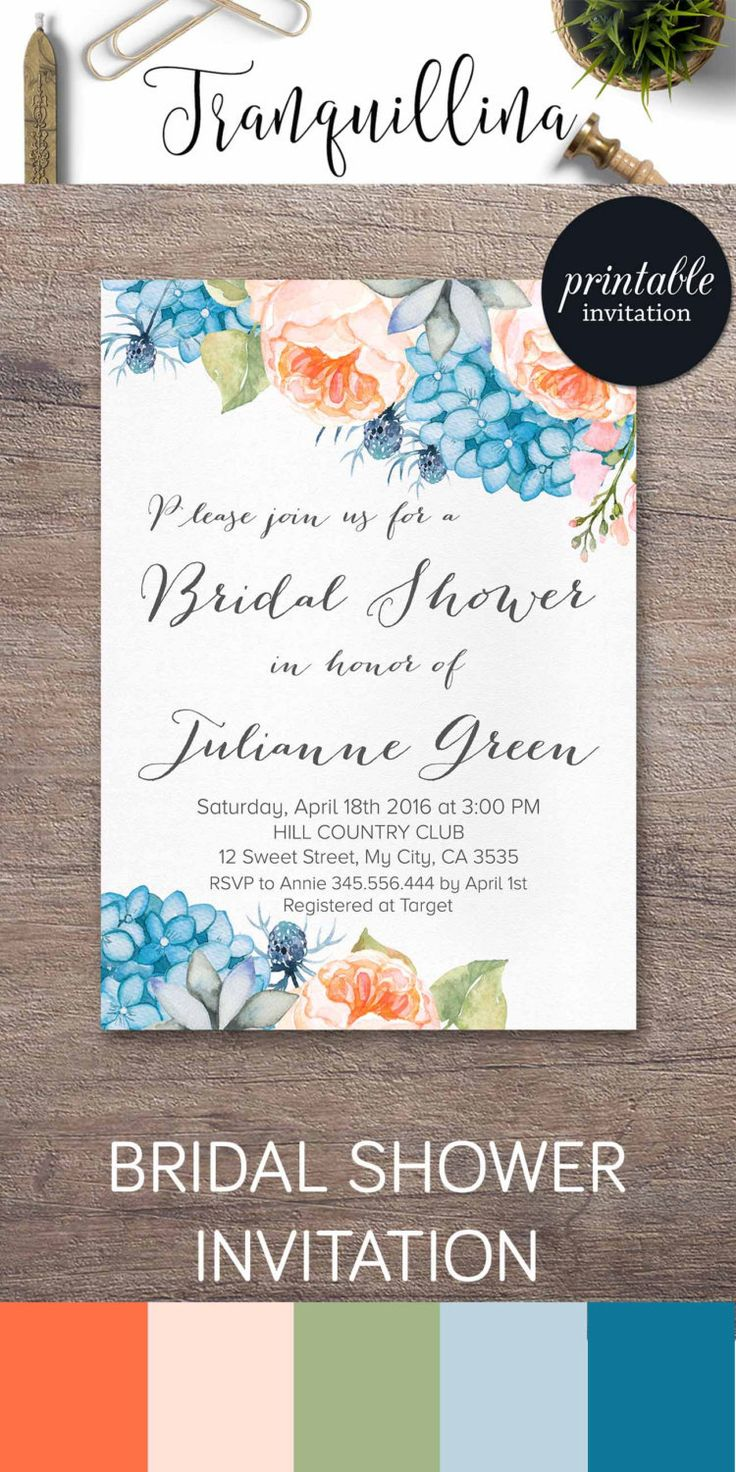 simple diy bridal shower invitations%0A Floral Bridal Shower Invitation Printable  Peony Bridal Shower Invitation   Hydrangea Bridal Shower Invite