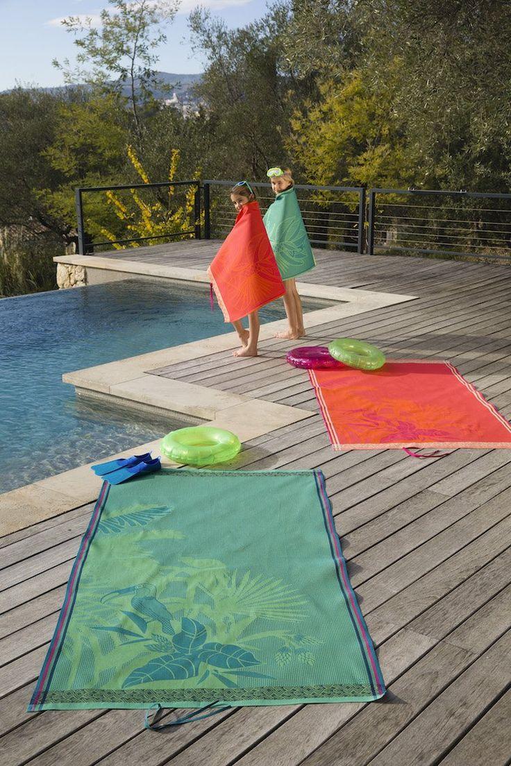 drap de plage secrets fabrication jacquard Francais piscine débordement toscane