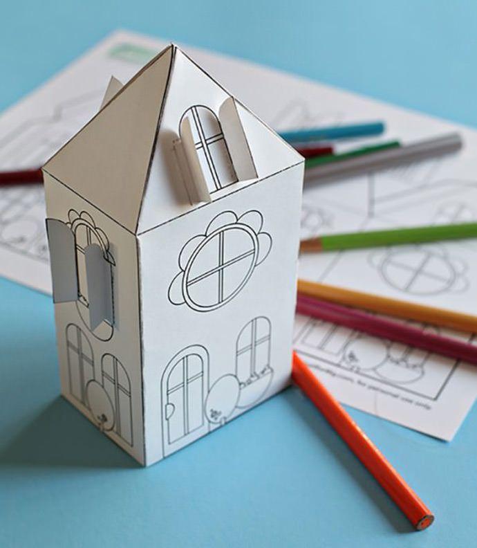 Een huisje knutselen met een free download. Super fun printable by Smallful