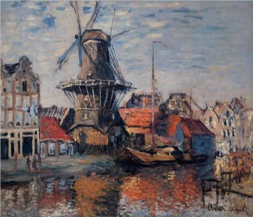Windmill on the Onbekende Canal, Amsterdam - Claude Monet