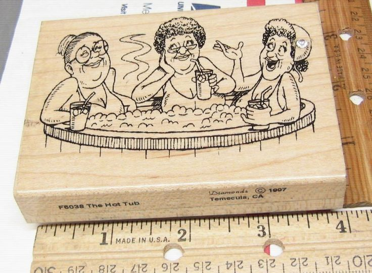 THE HOT TUB F6038 BY DIAMONDS  FUNNY OLD LADIES RUBBER STAMP JASMINESUNSET12 #DIAMONDS #rubberstamp
