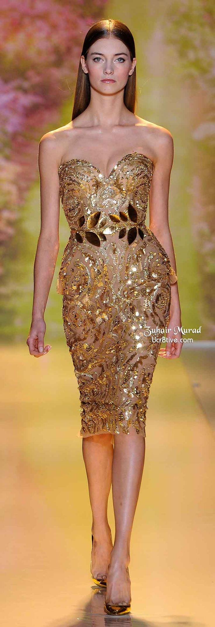 """Any celeb who loves her curves would look so amazing in this dress!   Fashion Police would have a """"Bitch Stole My Look"""" segment with this gold mini.  I could see Jennifer Hudson, Sofia Vergara, Kim Kardashian, JLo or Jessica Simpson rocking it.  I would remove the belt and keep the shoe.   For hair, it could be worn in an up-do to make it look more elegant, or total glamorous wavy bombshell curls.   Zuhair Murad Spring 2014 Haute Couture"""