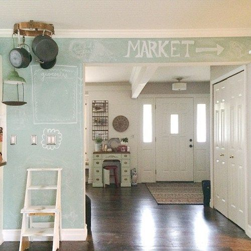 DIY chalkboard kitchen wall. She  shows you how to mix chalkboard paint to create any color you want! Such a great idea! theweatheredfox.com