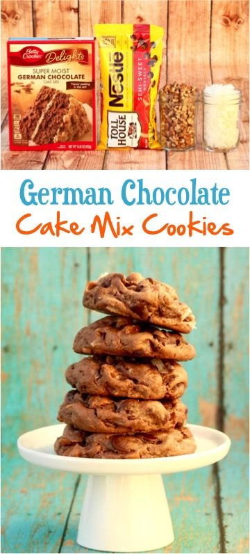 Easy German Chocolate Cake Mix Cookies Recipe!  Get ready for some serious coconut pecan heaven! | TheFrugalGirls.com (chocolate brownie cake mix)