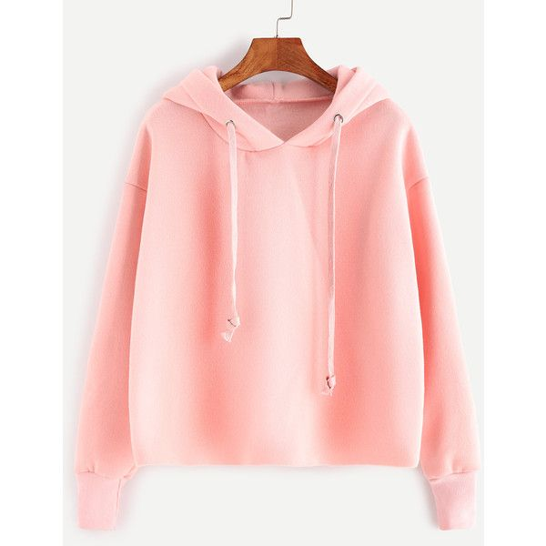 SheIn(sheinside) Pink Drawstring Hooded Sweatshirt (£14) ❤ liked on Polyvore featuring tops, hoodies, sweatshirts, sweatshirt, shirts, pink, pullover hoodies, pullover hoodie, long sleeve pullover and sweater pullover