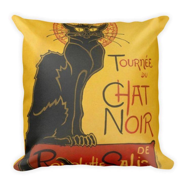 Pug Pillow Le Chat Noir The Black Cat Art Nouveau Vintage Throw Pillow
