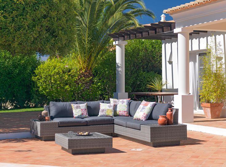Rattan lounge garnitur gartenm bel f r die terrasse for Lounge garnitur terrasse