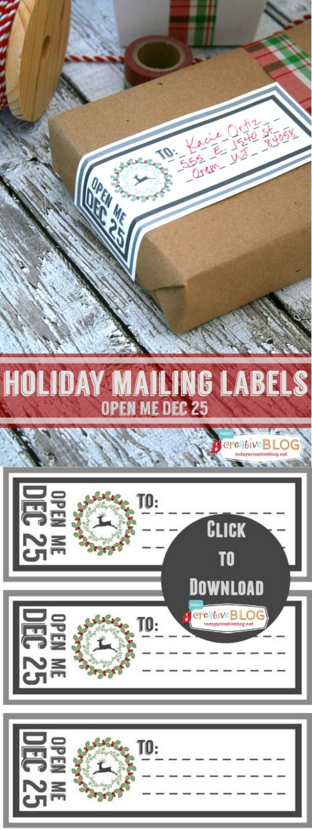 Christmas Printable Labels | Holiday Mailing Labels | Gift Tags |  TodaysCreativeBlog.net