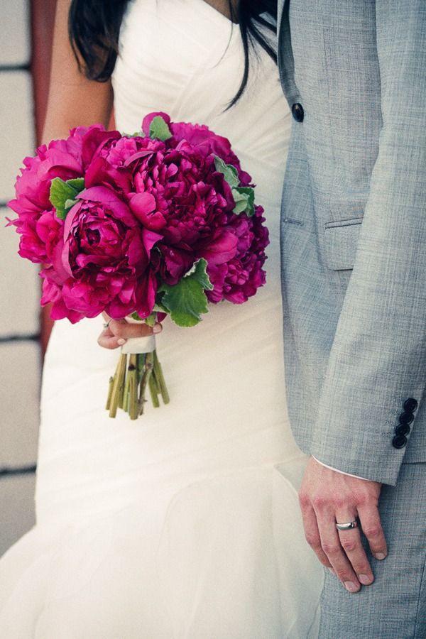 Magenta peonies wedding