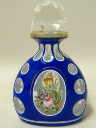 Enameled Glass - Blue and White Cut to Clear Perfume Bottle