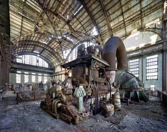 """Port Richmond, Pennsylvania A generator stands like a sculpture. In its day it was one of the most powerful in the world. It was housed, Meffre says, in a room """"built to look like the main hall of a grand city station"""""""