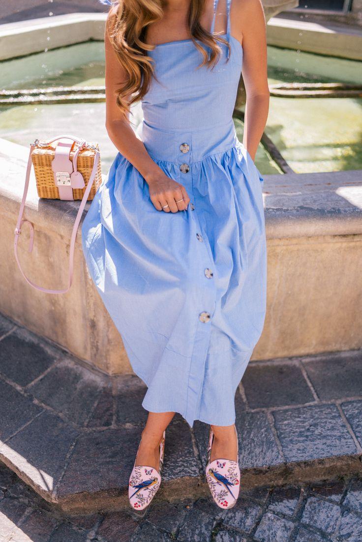 Gal Meets Glam Venasque & Avignon, Provence - Day: Rejina Pyo Dress, Aquazzura x DeGournay Loafers & Mark Cross bag