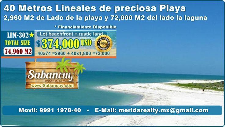 #terrenos-en-la-playa entre #isla-aguada y #sabancuy #campeche #Inversiones en #bienes-raices #MeridaRealty ofrece Lote en $374,000 USD, para mas informacion visite http://www.sabancuy.com/#Lotes-y-terrenos en Playas virgenes