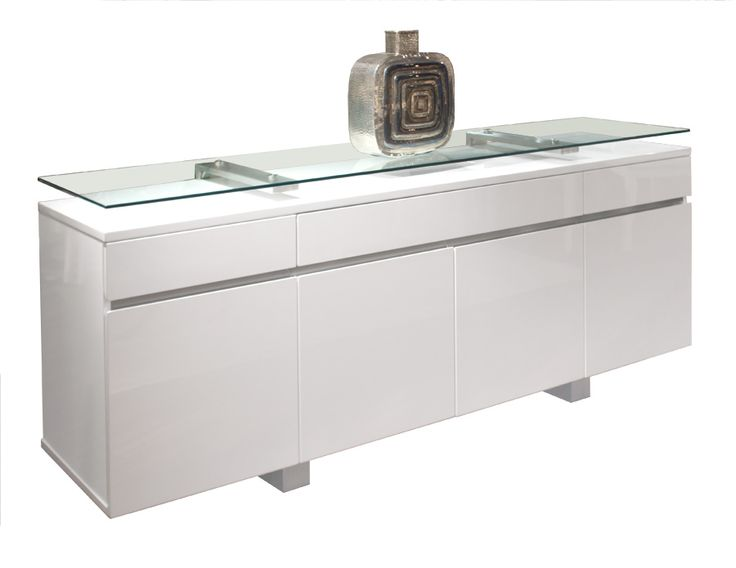 Good NoThe Novo White Lacquer Buffet Blends Lacquer, Glass And Metal Into This  Modern Buffet. The Thick Glass Top Rests On Two Metal Arms For A Float Like  Look.