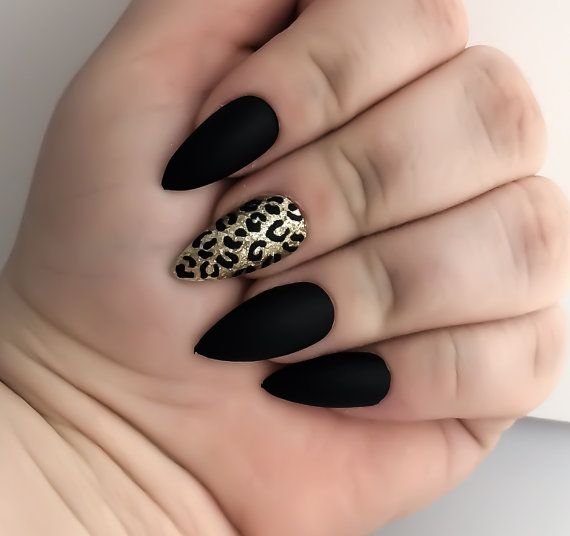 Black Fake Nail Set Gold False Nails Stiletto by LetThemSparkle