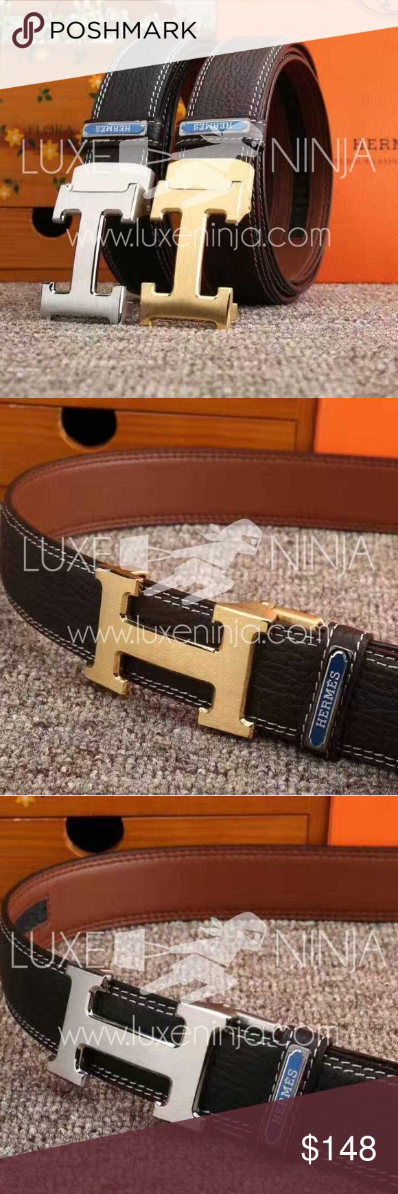 Hermes Men's Belt Classic Hermes Mens Belt.  Multiple sizes in either silver or gold hardware.  Check out our website for more options! Hermes Accessories Belts