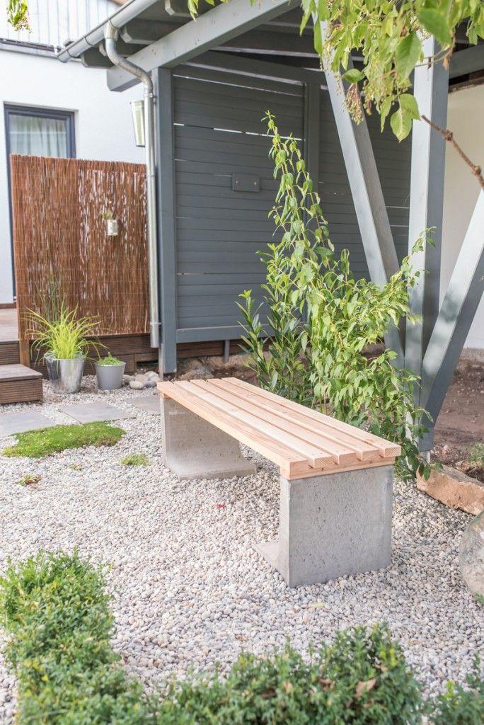 DIY Gartenbank aus Beton und Holz als Low budget Deko für den Garten: